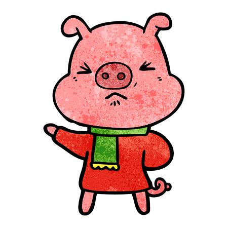 A cartoon angry pig