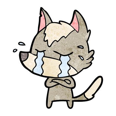 cartoon crying wolf Vector illustration. Stock Illustratie