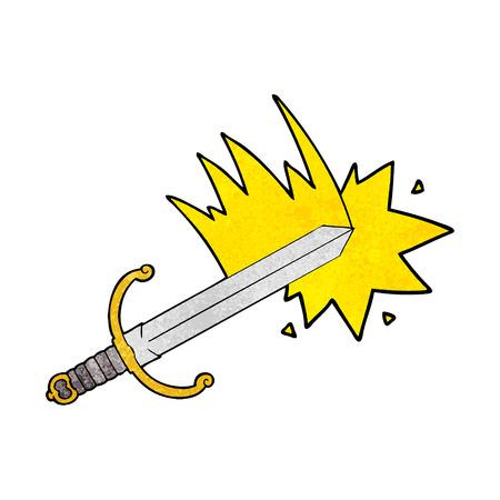 swinging cartoon sword Vector illustration. Illustration