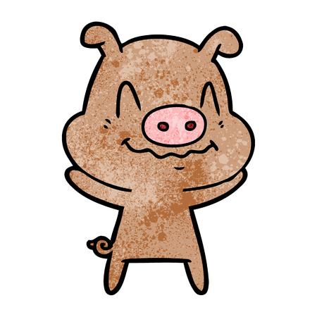 nervous cartoon pig Vector illustration. Çizim