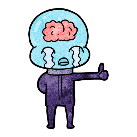 cartoon big brain alien crying but giving thumbs up symbol