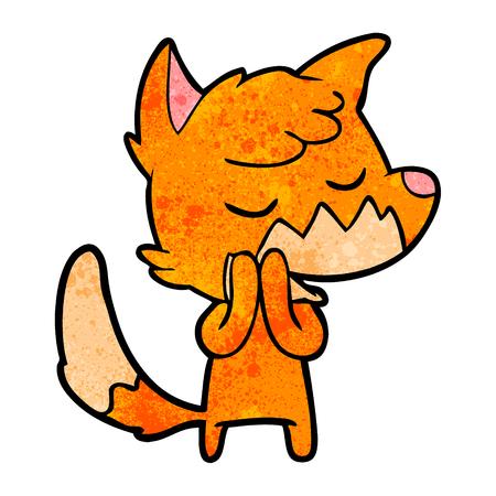 Hand drawn friendly cartoon fox Illustration