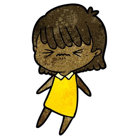 Annoyed cartoon girl isolated on white background