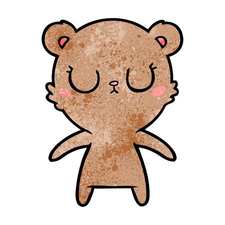 Peaceful cartoon bear cub isolated on white background