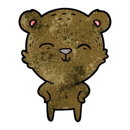 happy cartoon bear with hands on hips Stock Vector - 95013749