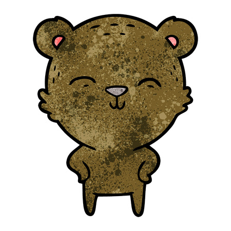 happy cartoon bear with hands on hips Illustration
