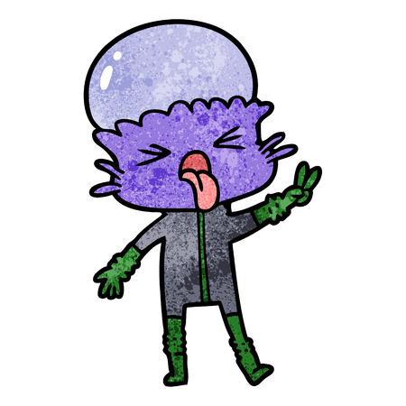 Weird cartoon alien isolated on white background
