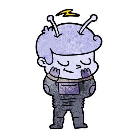 bashful cartoon spaceman
