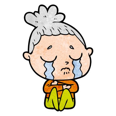 cartoon crying woman hugged up