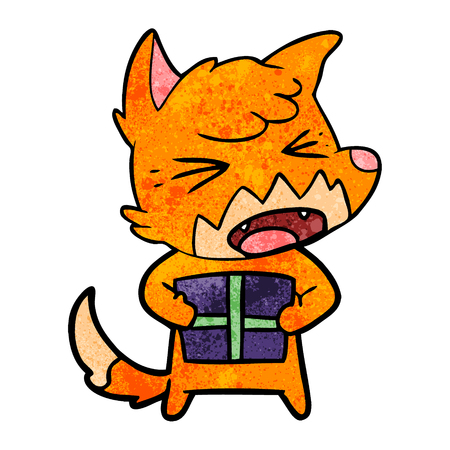 angry cartoon fox with christmas present