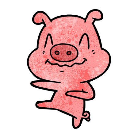 nervous cartoon pig dancing
