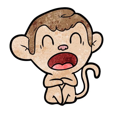 yawning cartoon monkey Vector illustration. Illustration