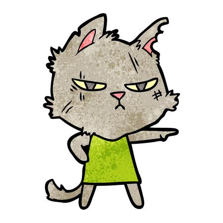 tough cartoon cat girl pointing 일러스트