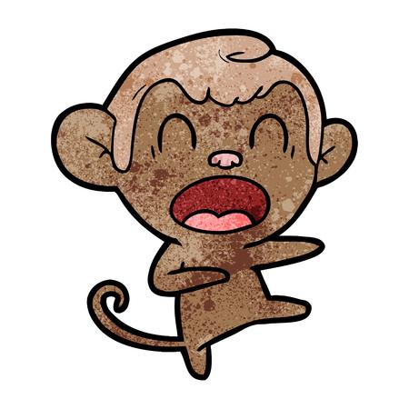 shouting cartoon monkey dancing