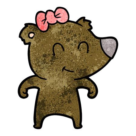 female bear cartoon Vector illustration. Archivio Fotografico - 95015846