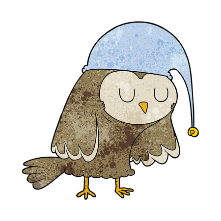 cartoon owl sleeping Vector illustration.