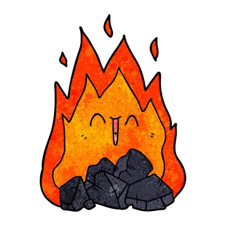 cartoon blazing coal fire Vectores