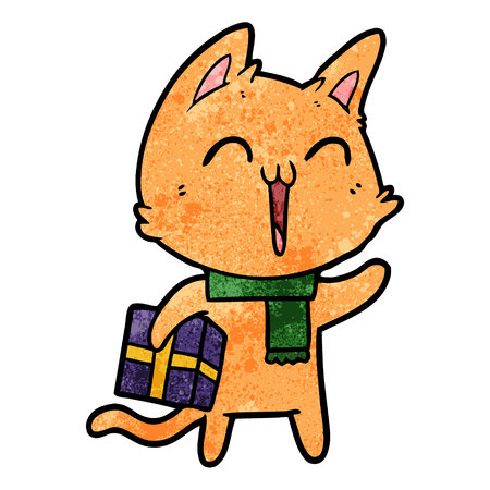 happy cartoon cat with christmas gift