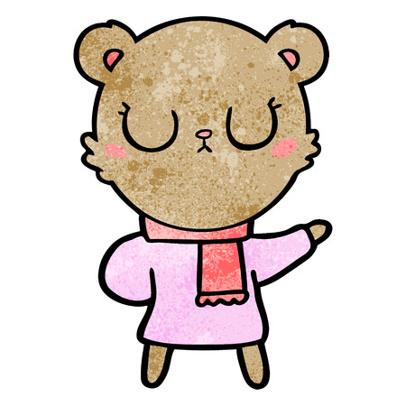 peaceful cartoon bear wearing scarf