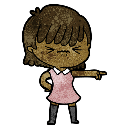 annoyed cartoon girl blaming