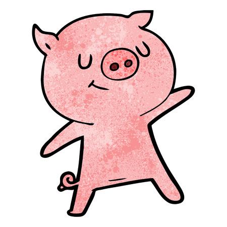 happy cartoon pig waving