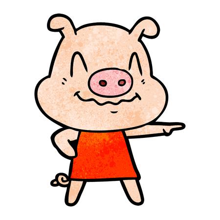 nervous cartoon pig wearing dress