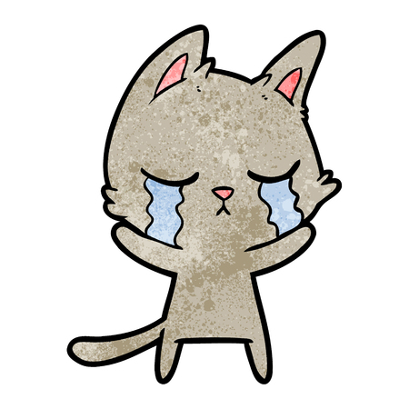 crying cartoon cat Illusztráció