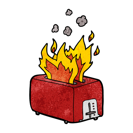 cartoon burning toaster Ilustrace