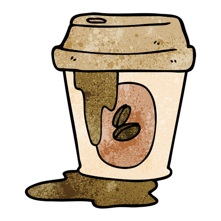 Messy coffee cup cartoon Stock Illustratie