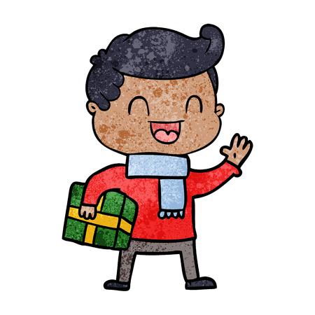 cartoon laughing man holding gift Çizim