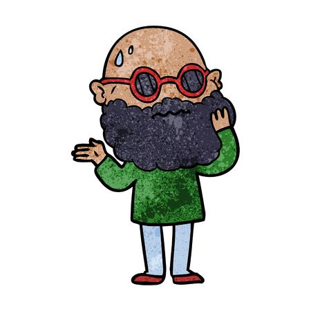 cartoon worried man with beard and sunglasses