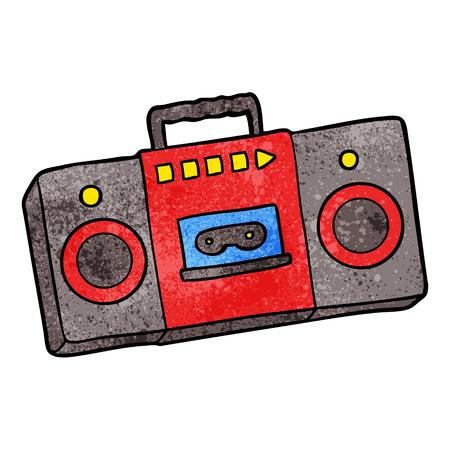 漫画レトロカセットテーププレーヤー  イラスト・ベクター素材