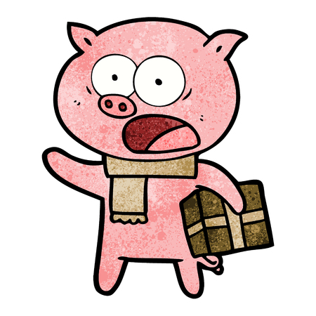 A cartoon pig with christmas present on plain presentation. Illustration