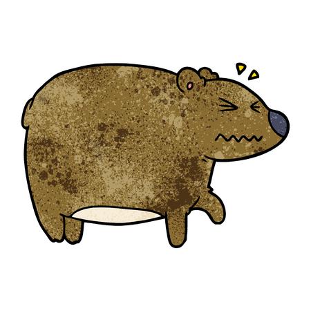 A cartoon bear with a sore head on plain presentation.