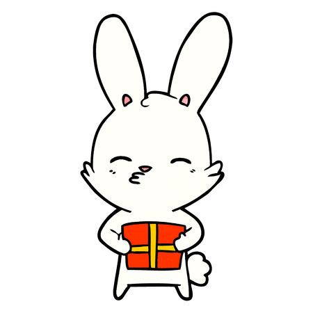 A curious bunny cartoon with present on plain presentation. Illustration