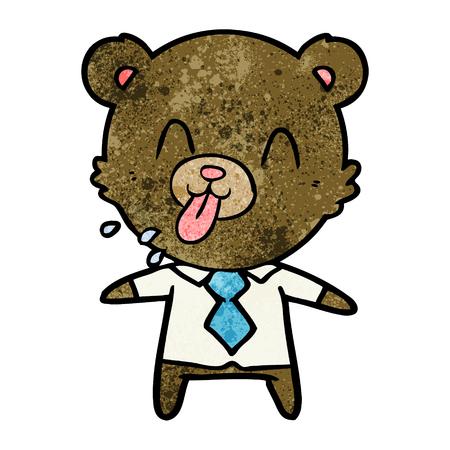 A rude cartoon bear boss on plain presentation.