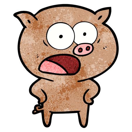 cartoon pig shouting illustration Illustration
