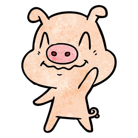 nervous cartoon pig waving