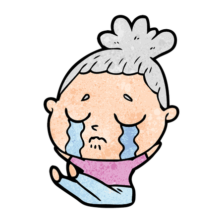 cartoon crying woman Vector illustration.