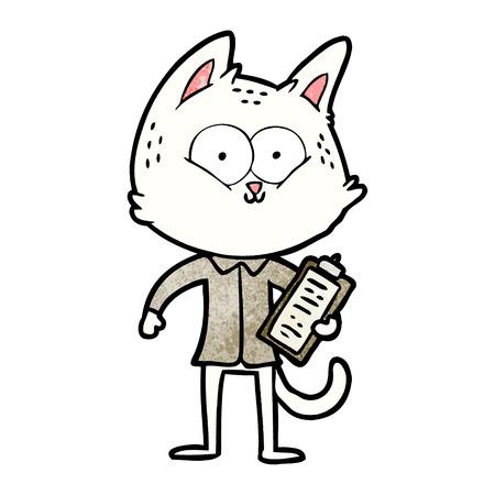 クリップボード付き漫画猫  イラスト・ベクター素材
