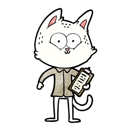 cartoon cat with clipboard 向量圖像
