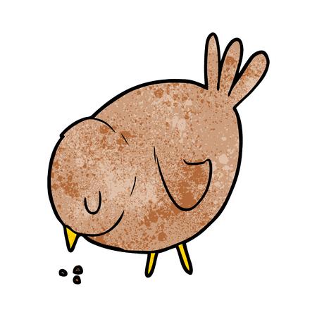 cartoon pecking bird Vector illustration. Illustration