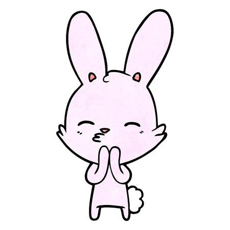 curious bunny cartoon Vector illustration.