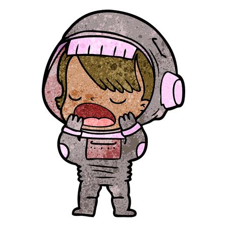 cartoon talking astronaut yawning