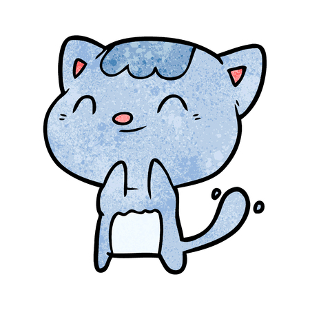 cute cartoon happy little cat