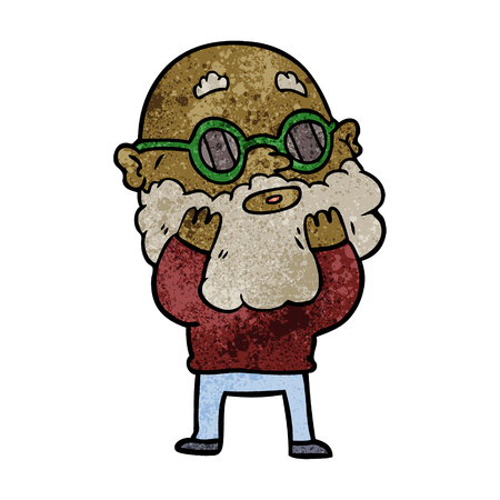cartoon curious man with beard and sunglasses