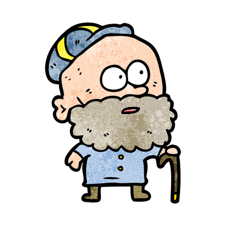 old cartoon man with walking stick and flat cap