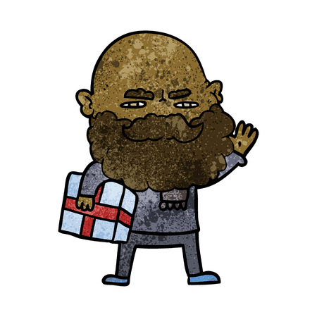 cartoon man with beard frowning with Christmas gift Иллюстрация