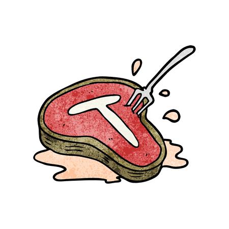 漫画調理ステーキとフォーク