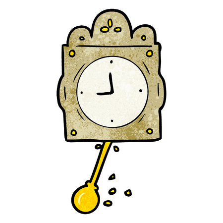 cartoon ticking clock with pendulum Illustration